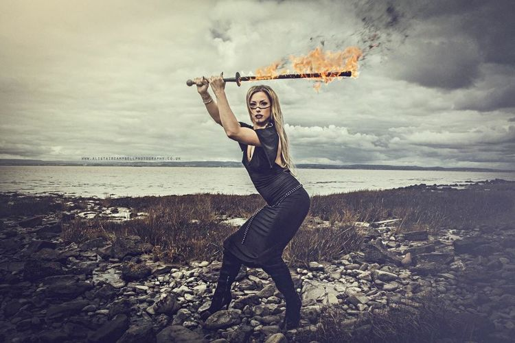 My friend Maria with her Fire-sword! Fire Sword Model Pose Photography Portrait