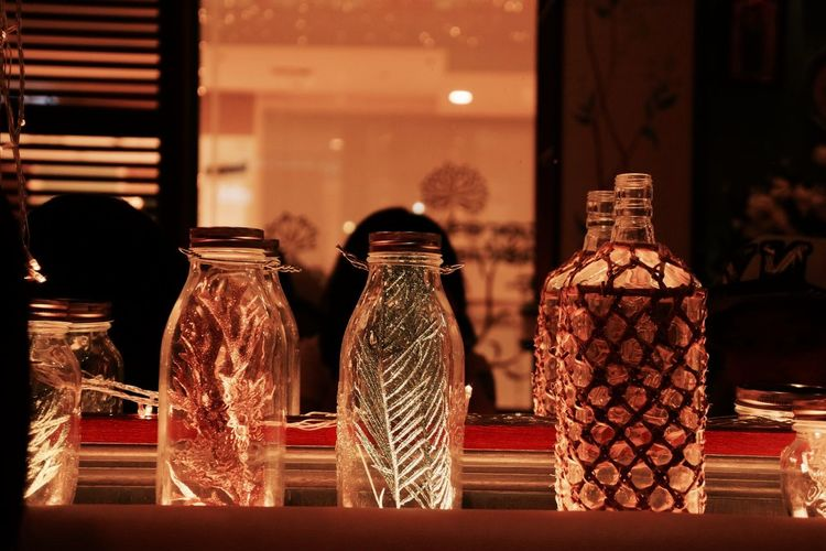 Decorative jars in restaurant