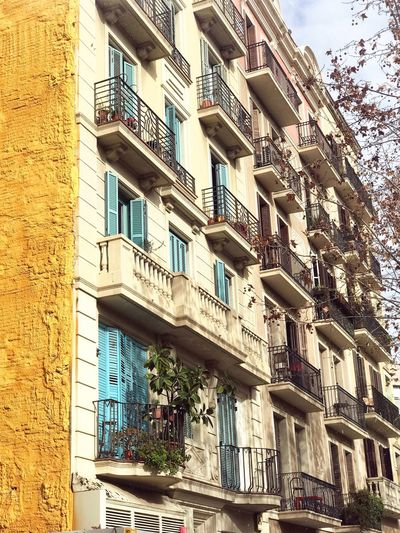 Building Exterior Built Structure Architecture Building Low Angle View Window Day Balcony Residential District No People City Outdoors Nature Wall - Building Feature Full Frame Sunlight Wall Pattern Sky Glass - Material