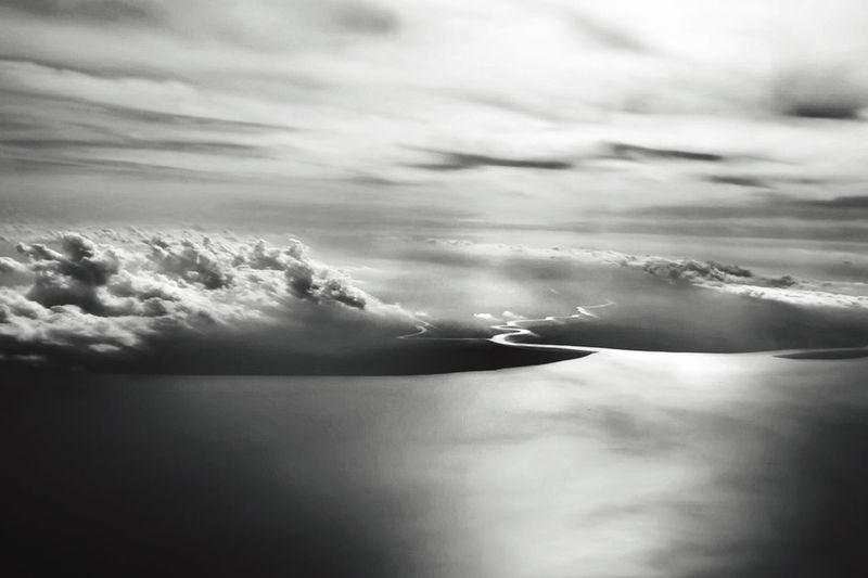 Sky over Indo Aerial View sea River monochrome