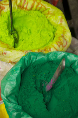 Holi powder in India Holi Festival Holi Festival Of Colours Holi ✌ India Indian Culture  Close-up Festival Green Powder High Angle View Holi Day Holi Festival Color Holi Powder Religion Springtime