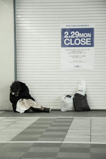 Close Homeless Sleeping Streetphotography Text