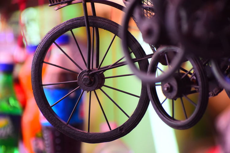 miniature cycle Bazar Tire Spoke Bicycle Wheel Close-up