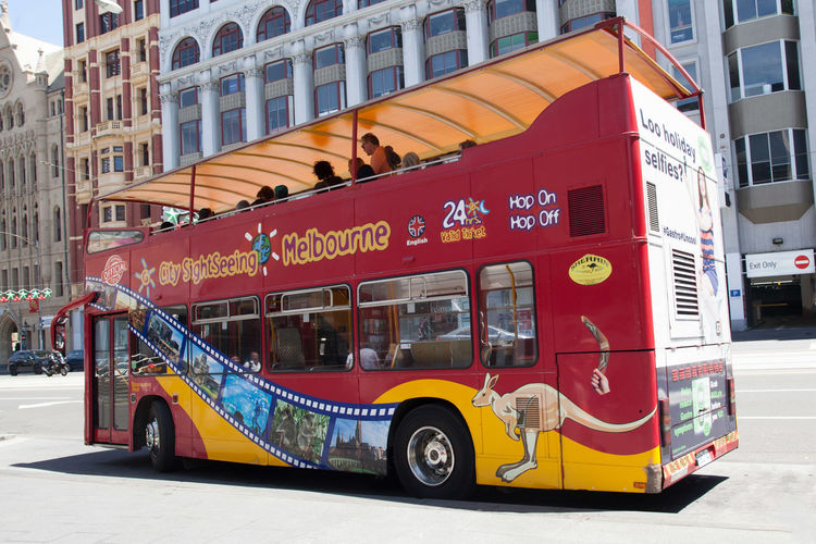 Melbourne, Australia - December 16, 2017: City Sightseeing double decker bus in Melbourne Downtown Australia City Bus Sightseeing Architecture Building Exterior Built Structure Bus City Day Double-decker Bus Editorial  Fire Engine Land Vehicle Melbourne Mode Of Transport No People Outdoors Public Transportation Stationary Street Transportation