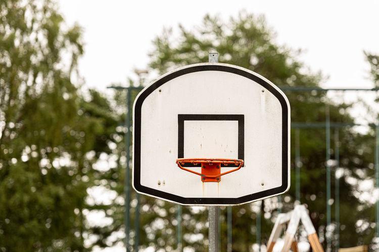 Basketball hoop against trees in city