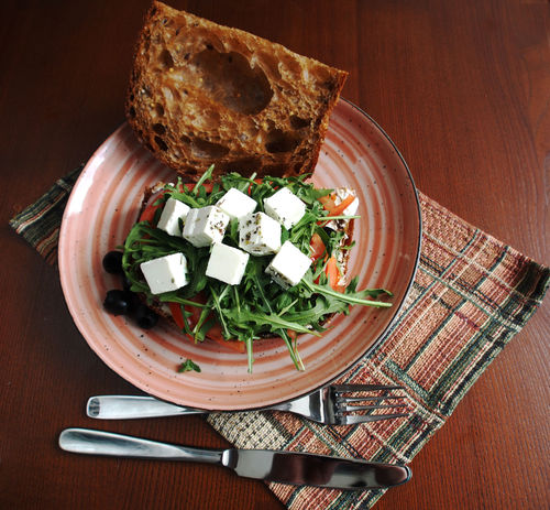 Sandwich with feta, vegetables and black bread Feta Sandwich Bread Brown Bread Close-up Day Directly Above Food Food And Drink Freshness Healthy Eating High Angle View Indoors  No People Plate Ready-to-eat Table