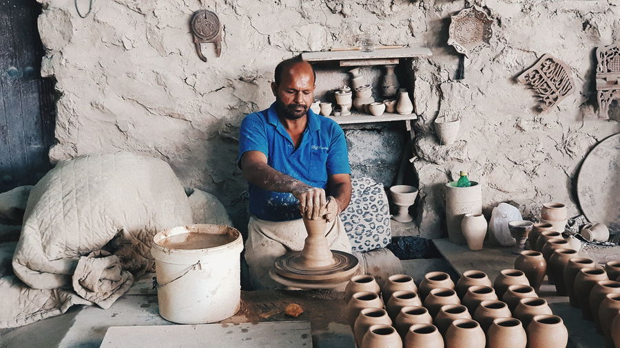 Adult Adults Only Art And Craft Clay Craft Craftsperson Day Earthenware Indoors  Making Manual Worker Men Occupation One Man Only One Person Only Men People Real People Working Workshop The Street Photographer - 2018 EyeEm Awards The Photojournalist - 2018 EyeEm Awards