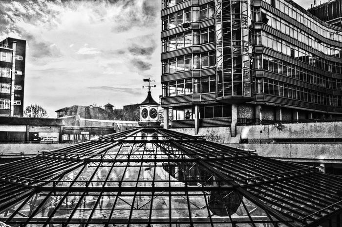 Office Building Glass_collection Glass Dome Clock With Weather Vane Blackandwhite Photography Taking Photos Reflection_collection Nikonphotography Norwich Eye4photography