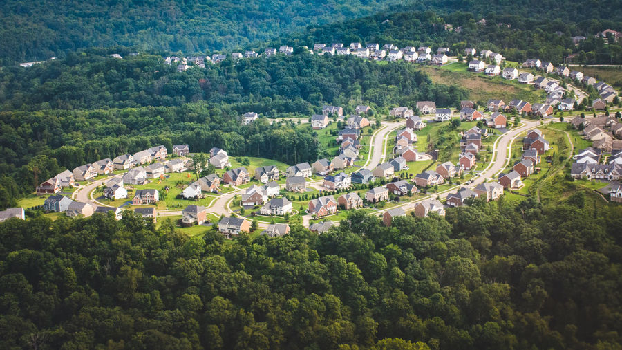 High angle view of houses and trees