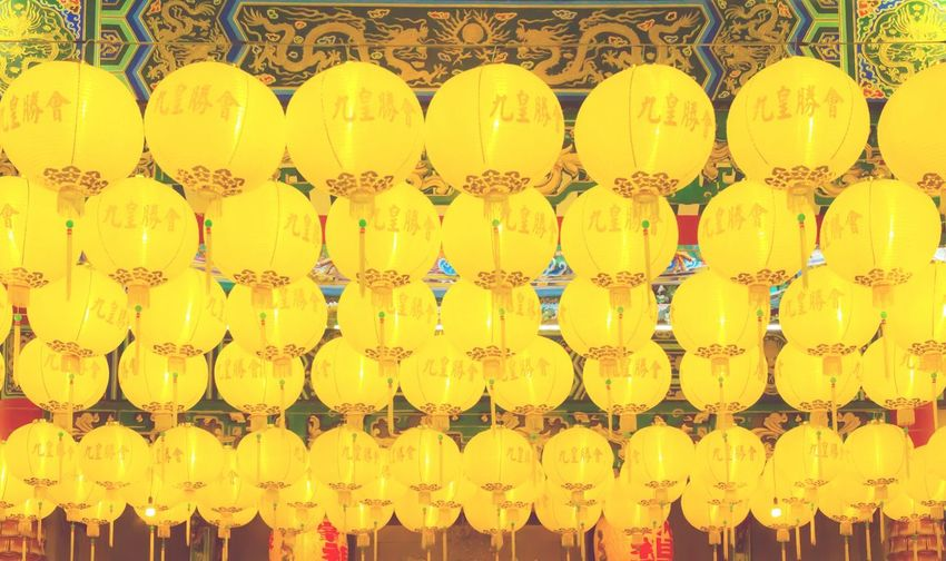 Ceremony Celebration Event Happy New Year Traditional Culture Local Chinese Thai Temple Dragon Worship Landmark Lamp Lantern Light Design Pattern Interior Decoration Chinatown Religion Retro Vintage Asian