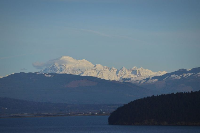 Mount Baker. It's rare we get to see the mountain that clearly during the cloudy winter season. PNW Anacortes Mountain Landscape Snow Outdoors No People Nature Winter Blue Scenics Beauty In Nature Water Day