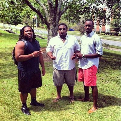 Me, and my bros @reginaldwaller and @jarvisrogers35 chilling on campus earlier, excuse the face that Sun was shining bright though lol TroyU