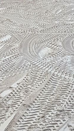 Traces In The Sand Backgrounds Full Frame Pattern Textured  Abstract Sand No People Nature Tire Track Day Outdoors Close-up Sand Dune Outdoors Photograpghy  Beach Under Construction