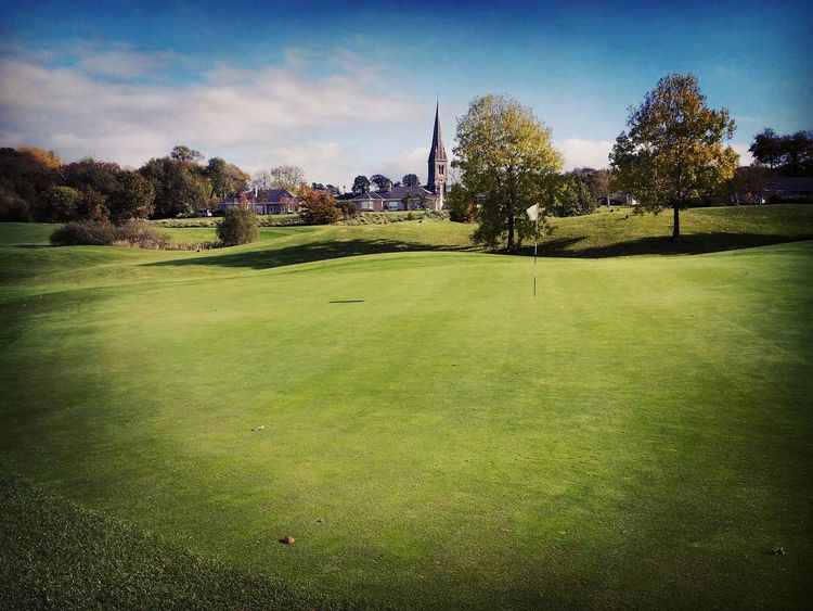 17th Green Faithlegg Golfcourse Golf Waterford Southeast Ireland 17th Hole Church Spire  Pretty Picturesque Golf Photography Putting Green Flag