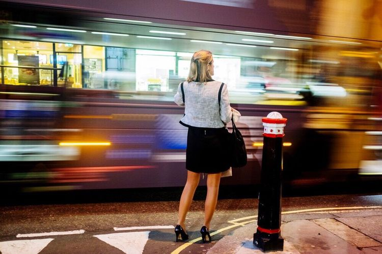 Postcode Postcards Blurred Motion Motion Speed Transportation City Life City Women Adult One Woman Only Subway Station Train - Vehicle One Person Activity Long Exposure Only Women Full Length People Road Young Adult