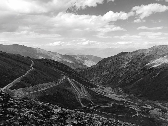 Mountain Mountain Range Mountain Peak Beauty In Nature Nature Sky No People Somewhere In The World Cloud - Sky Mountain View Mountains And Sky Longwayride Avenue Monochrome Photography