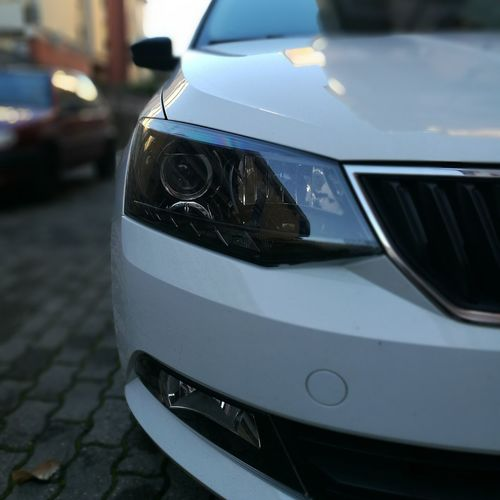 Car Auto Skoda Skodafabia Motor White Front View Lights First Eyeem Photo