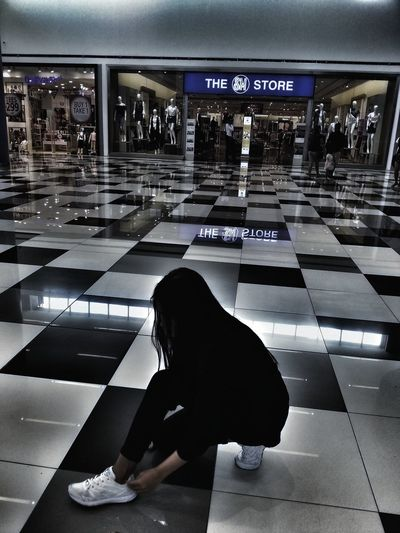 People Architecture One Woman Only Day Mall SM Blackandwhite Black And White Photography Long Hair, Don't Care. Modeling Model Rubber Shoes