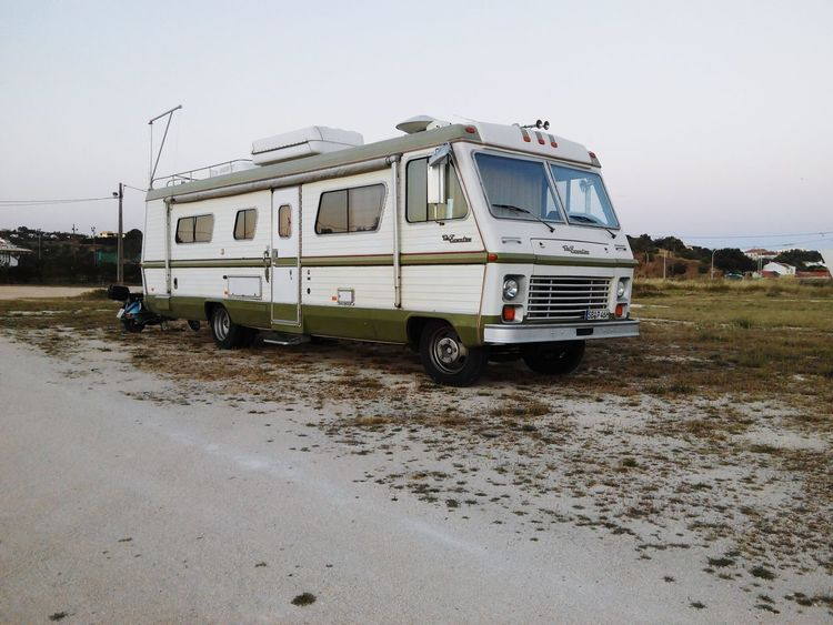 Transportation Mode Of Transport Social Issues Sky Outdoors Desert Day Water Beach No People Nature Autocaravana Wohnmobil Rv Mobilehome Spaceship Mobilehome Nature Clear Sky Transportation Landscape Tranquility