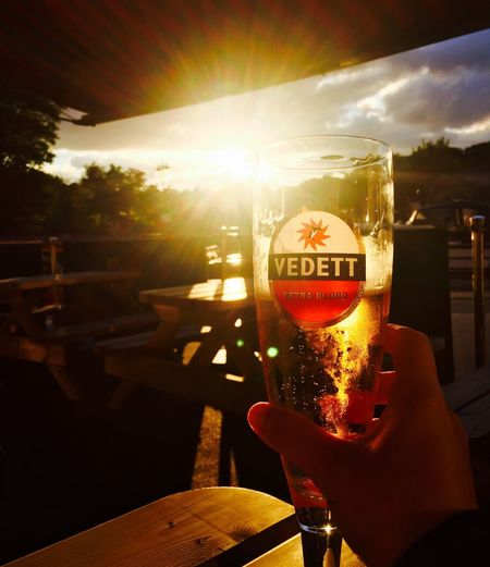 Beer and Beautiful Sunset Beer Sunset Peaceful Good Night Yorkshire IPhoneography