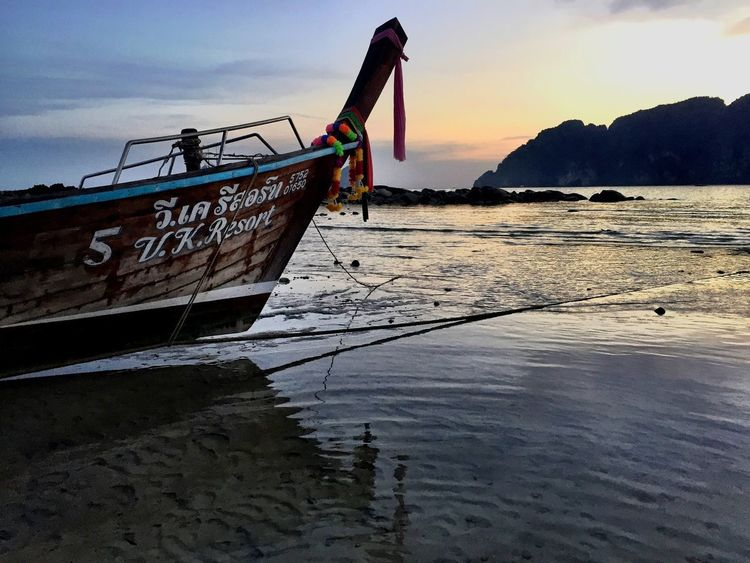 LongTailBoat Boat Thailand Koh Pi Pi Water Sea Sky Nature Scenics Beauty In Nature Transportation No People Outdoors Tranquility Sunset Beach Horizon Over Water Longtail Boat