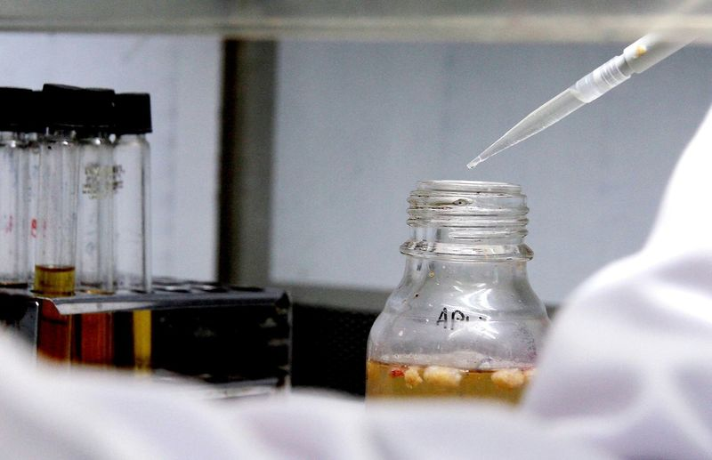 Close-Up Of Pipette And Liquid Bottle In Laboratory