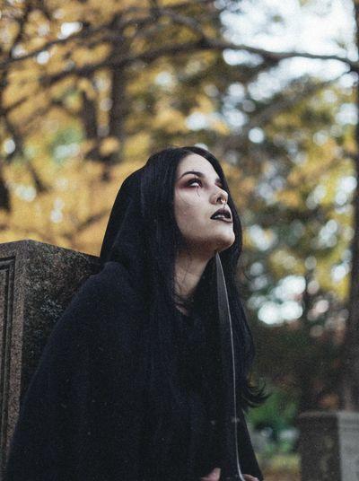 soon we will fall Witch Dark Photography Dark Cloak Sword Graveyard Cemetery Dagger Darkart Autumn Beauty Close-up