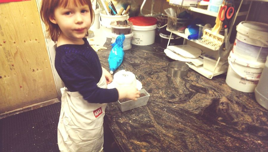 My three year old daughter Tuva making a cake at her mother's work. Cake Work Future Pastry Chef