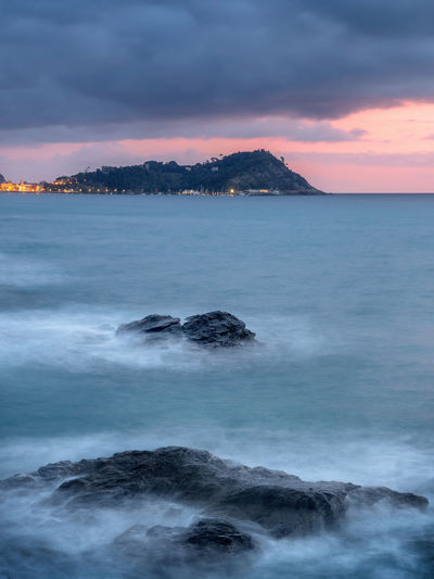 Winter mood Sea Sky Cloud - Sky Water Scenics - Nature Sunset Beauty In Nature Motion Nature No People Tranquility Land Tranquil Scene Rock - Object Wave Outdoors Long Exposure Tigullio Liguria Genova Genoa Lavagna Sestri Levante Travel Winter