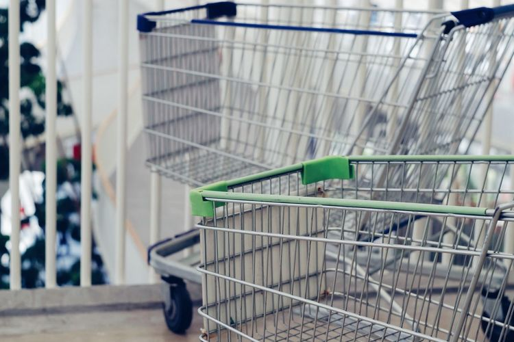 Shopping cart at supermarket Grocery Earning Income Cart Commercial Investment Purchase Payment Shop Store Credit Economy Economic Marketing Customer  Buy Sell Sale Basket Trolley Shopping Shopping Cart Business Growth Rich