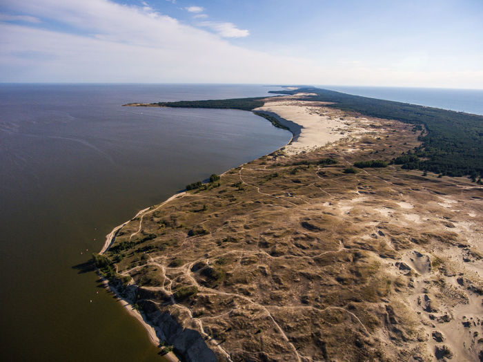 Curonian spit Curonian Spit Lithuania Nida Sand Dune Sand National Park Nature Reserve UNESCO World Heritage Site Curonian Lagoon Aerial View Aerial Drone  Unesco Baltic Sea Seaside Seascape Coastline No People Summer Scenics - Nature Horizon High Angle View Nature Beauty In Nature Sea