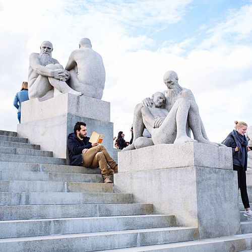 Low angle view of statue of people