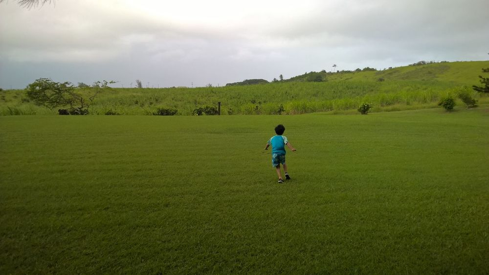 Grass Green Color Field Rural Scene Landscape Full Length Agriculture Childhood Boys Walking Casual Clothing Cultivated Land Sky Rear View Tranquility Playing Tranquil Scene Grassy Solitude Crop