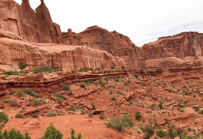 Landscape of small plants and massive red sandstone formations in Arches National Park Arches National Park, Utah Rock - Object Landscape Solid Rock Nature Scenics - Nature Land Travel Travel Destinations Desert Non-urban Scene Rock Formation Beauty In Nature Mountain No People Tranquility Arid Climate Environment Sky