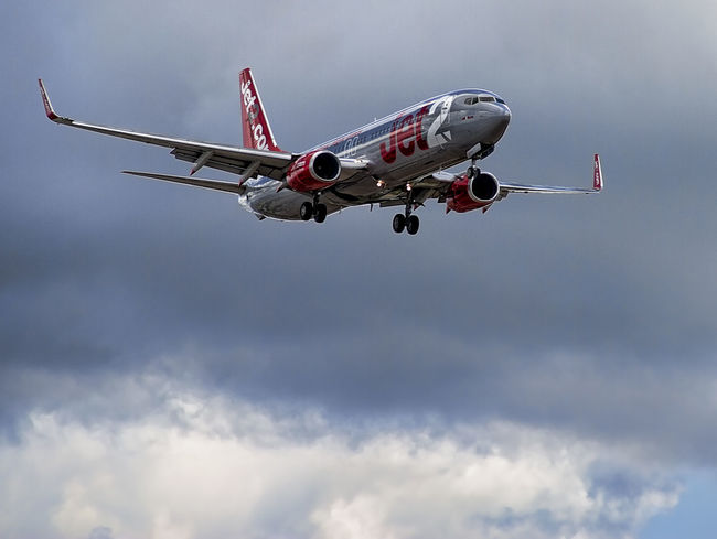 JET2 ARRIVING AT MANCHESTER AIRPORT Air Vehicle Airplane Cloud - Sky Flying Jet2 JET2 AIRPLANE Low Angle View Manchester Manchester Airport Manchester UK No People Passenger Passenger Craft Sky