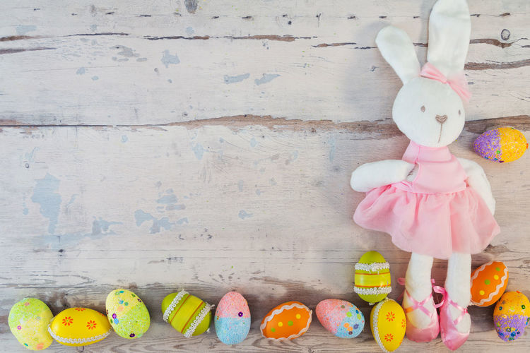 Easter Easter Egg Easter Ready Representation Toy Still Life Art And Craft Wall - Building Feature Creativity Human Representation Stuffed Toy No People Indoors  Multi Colored Wood - Material Decoration Day Craft Figurine  Container