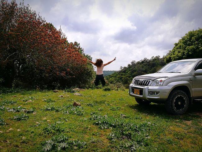 Standing Car Summer Spraying Full Length Sky Grass