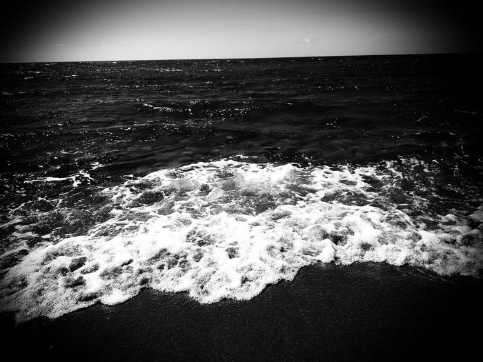 Beach Sea Water Wave Outdoors No People Beauty In Nature Welcome To Black Blackandwhite Photography Black & White