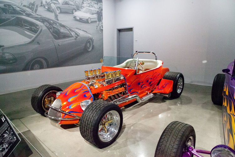 Los Angeles, CA, USA - July 23, 2017: Orange 1925 Ford Altered T Roadster called Golden Star displayed at the Petersen Automotive Museum. Editorial use. 1925 Altered T Roadster Classic Car Ford HotRod Petersen Automotive Museum Roadster Car Day Fast Cars Hot Rod Indoors  Land Vehicle Mode Of Transport No People Orange Car Race Car Sports Car Stationary Tire Transportation Vintage Car Wheel