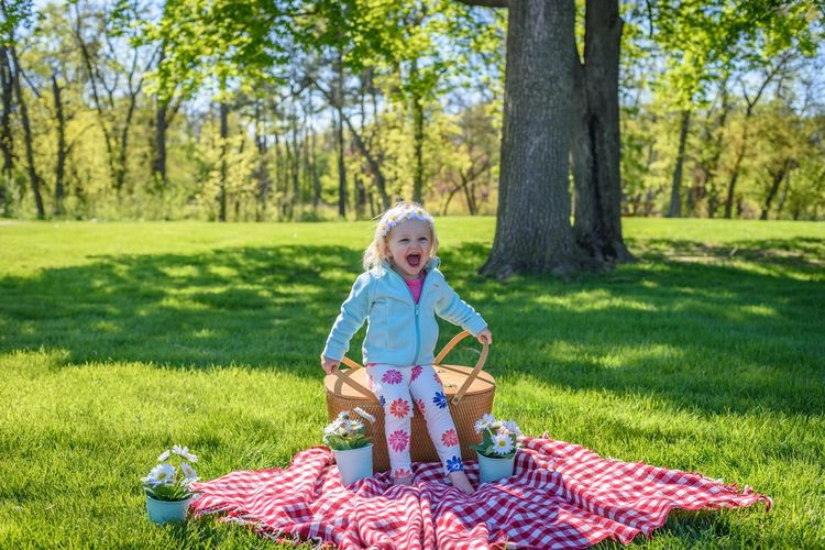 Happy little girl sitting on picnic basket and smiling outside at park Spring Sunny Day Outdoors Parks Sitting Picnic Basket Vintage Style Retro Style Picnic Happy Girl  Little Girl Blond Hair Daisies Kids Photography Kid Portrait Excitement Happy People Childhood Portrait EyeEmPaid