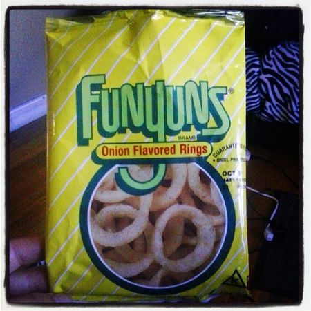 Funyuns because it's the only bag of chips? that's yellow. Ithink Notsurethough Correctmeifimwrong Plz