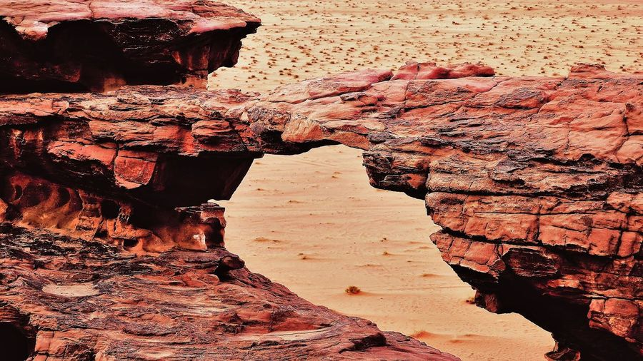 Wadi Rum desert (Jordan) 🇯🇴 Arid Climate Climate Day Eroded Geology History Nature No People Non-urban Scene Outdoors Physical Geography Rock Rock - Object Rock Formation Rough Solid Tourism Tranquility Travel Travel Destinations Wall