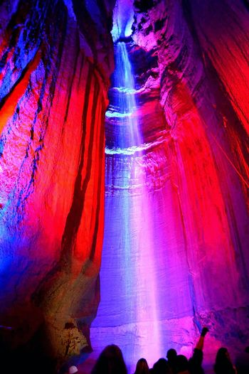 Waterfall Ruby Falls Cave Nightphotography Lights