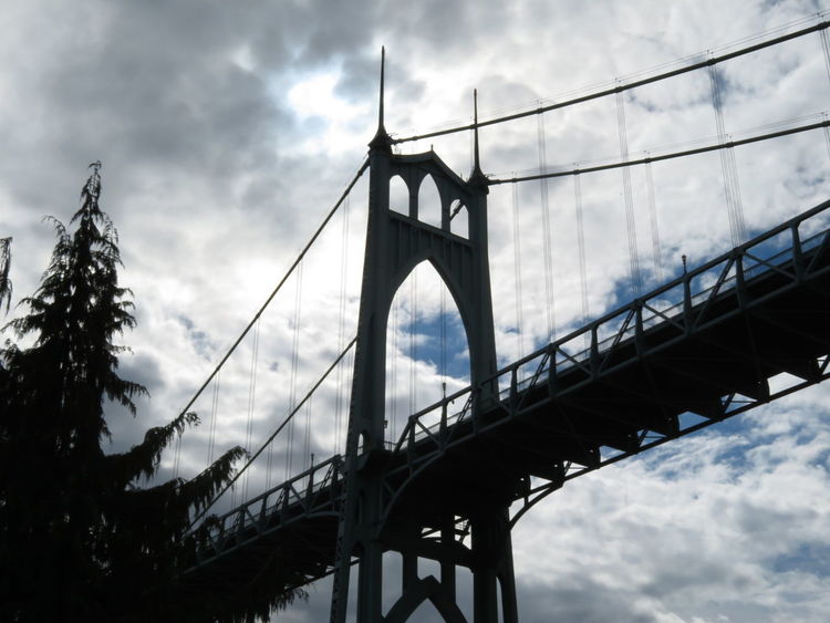 Bridge - Man Made Structure Connection Engineering Built Structure Sky Travel Destinations Architecture Suspension Bridge Transportation Low Angle View Cloud - Sky City Outdoors Road Trip Seeing The World See The World Through My Eyes Travel Oregonexplored Adventure Traveling Photography Travelingtheworld  PNW Photography PNW Oregon Beauty In Nature