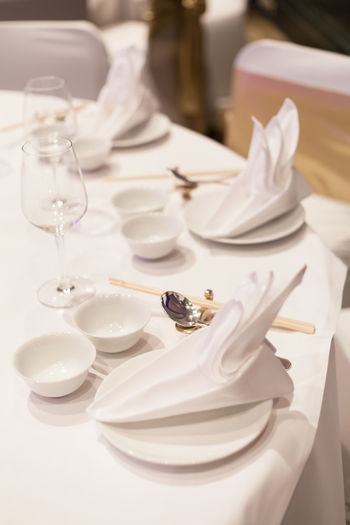 Close-up Day Food Food And Drink Fork High Angle View Indoors  Napkin No People Place Setting Plate Table White Color Wineglass