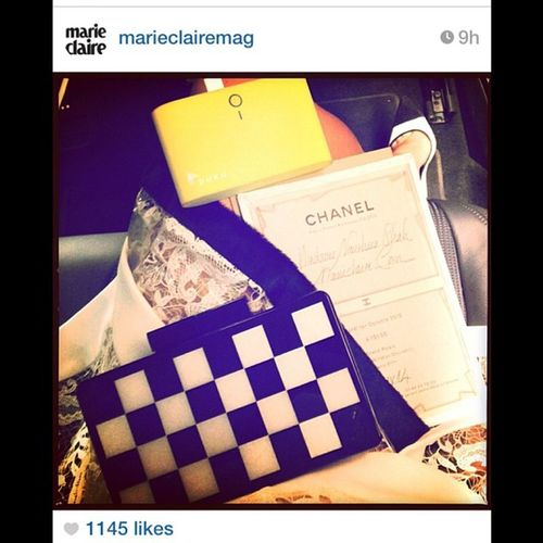 Regram Taxicabconfessions with @marieclairemag on the way to Chanel Pfw paris with the company of our FW13 chessboard uraniagazelli clutch bag and @gotpuku ! Thank you @nausheenshah ?❤️??