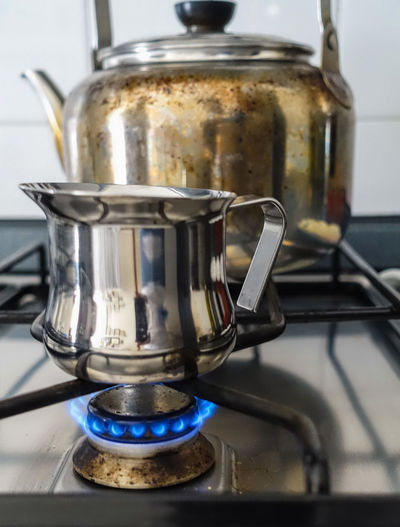 Appliance Burner - Stove Top Camping Stove Close-up Coffe Coffee Coffee Time Cooking Day Domestic Kitchen Domestic Room Espresso Maker Fire Food Food And Drink Gas Stove Burner Heat - Temperature Indoors  Kitchen Metal No People Preparation  Stove Warming Up