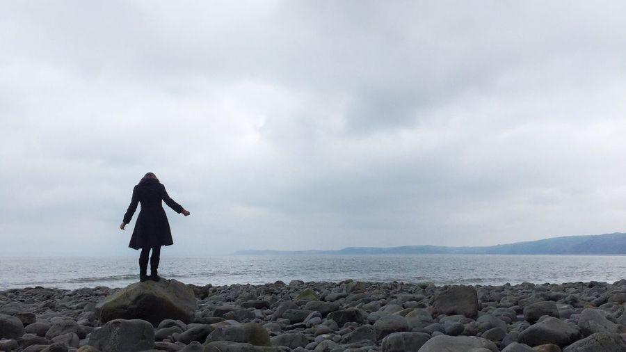 Sea Sea And Sky Seaside Seascape Silhouette Woman Portrait Of A Woman Alone Life Is A Beach Beach Life