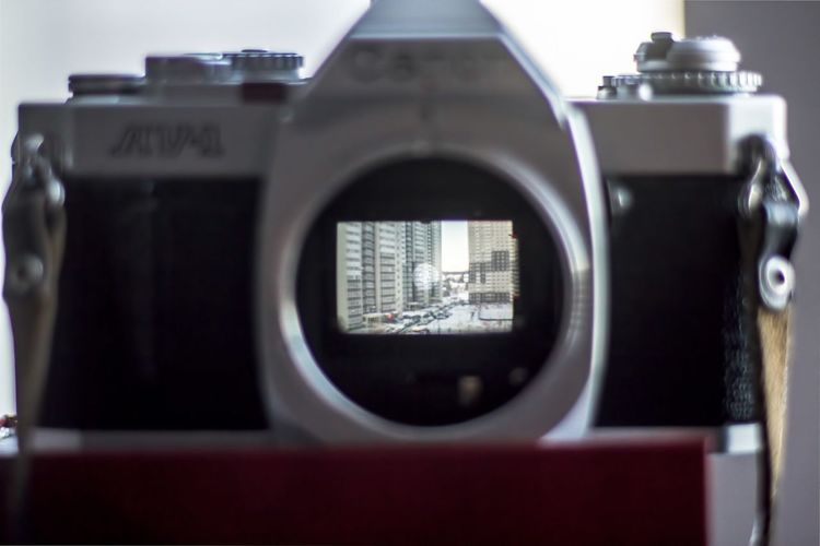 Through viewfinder Canon AV-1 Close-up Day Mirror No People Viewfinder Window Without Lens