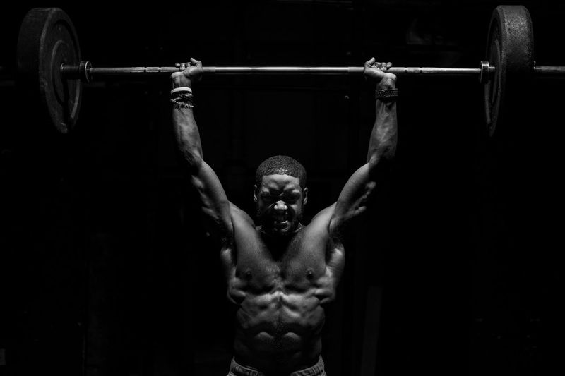 ACTION Blackandwhite Blackandwhite Fitness Photooftheday Motivation FUJIFILM X-T2 Photojournalism Portraits Fujifilm_xseries Portraiture Youth Culture EyeEm Best Shots - Black + White Light And Shadow Sport Crossfit Streetphoto_bw Light Blackandwhite Photography Muscular Build Exercising Strength Shirtless Healthy Lifestyle Lifestyles Sport Sports Training One Person Athlete Weight Training  Gym